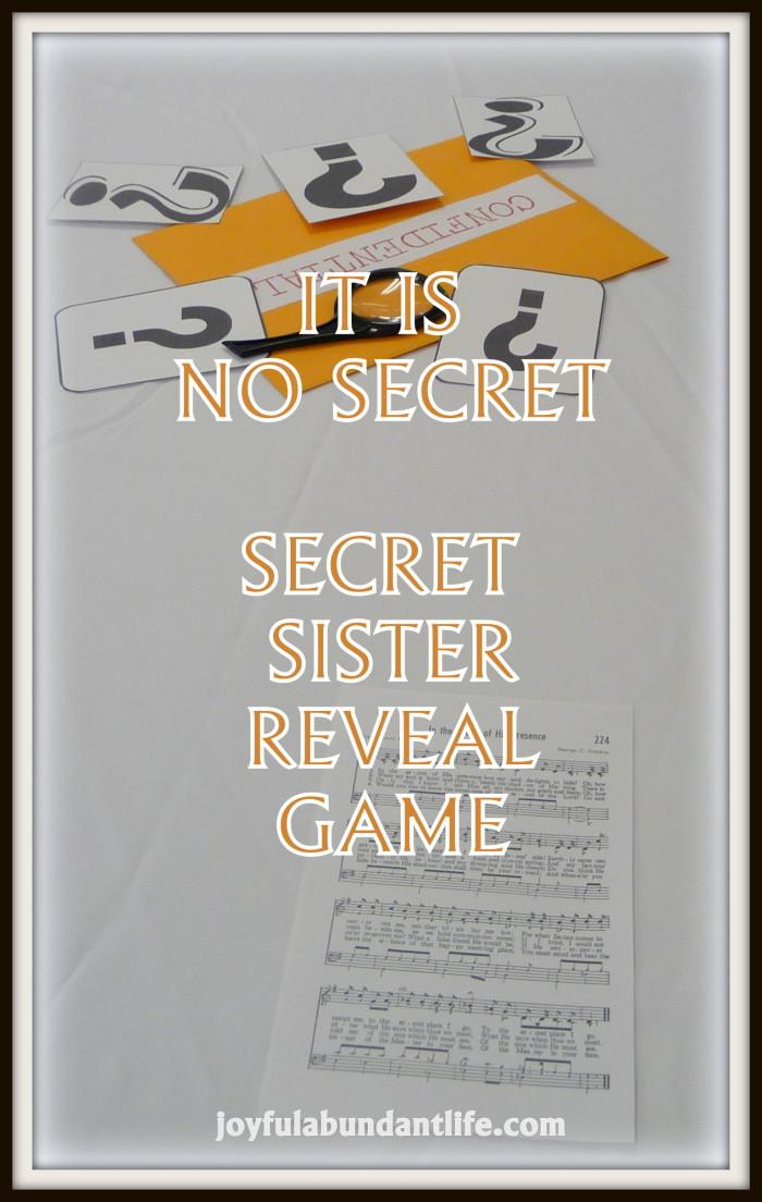 Secret Sister Reveal Game - It Is No Secret - Scavenger Hunt
