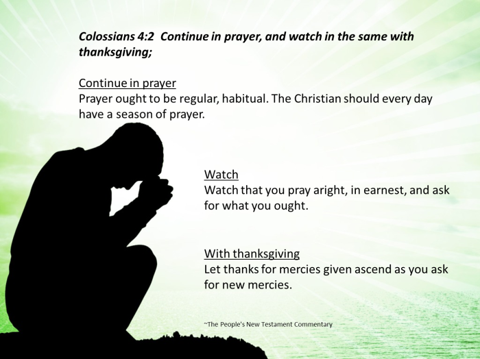 Continue in Prayer and watch in the same with thanksgiving ~Colossians 4:2