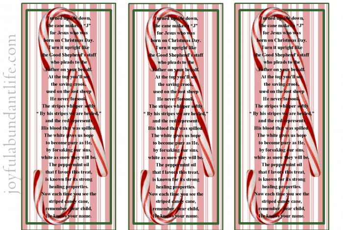 Printable Candy Cane Bookmark for sharing the gospel