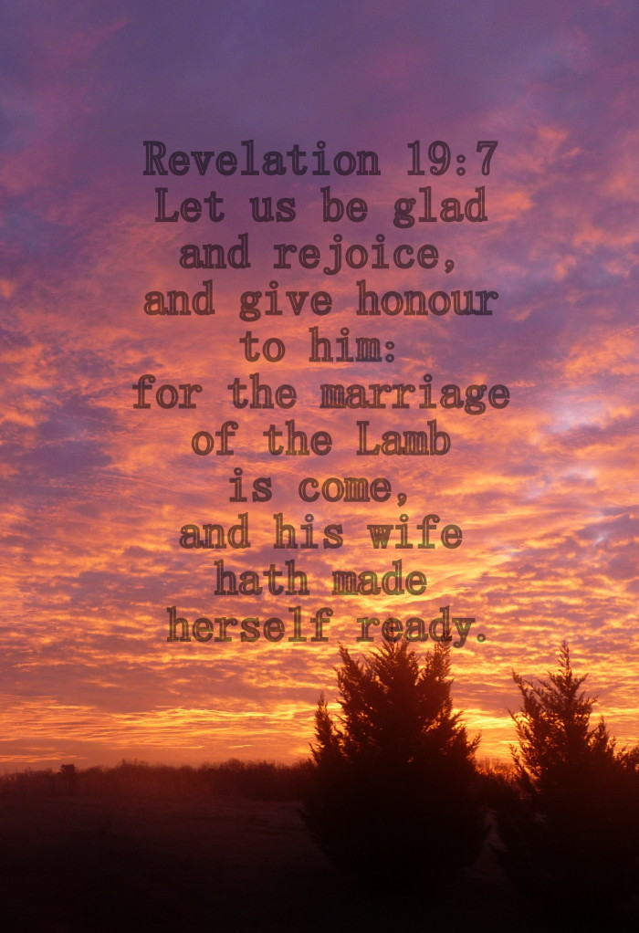 Revelation 19:7 Let us be glad and rejoice, and give honour to him: for the marriage of the Lamb is come, and his wife hath made herself ready.