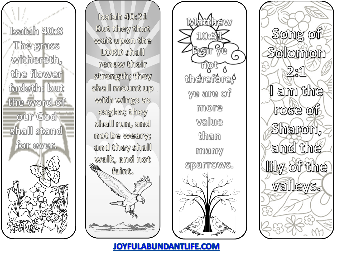 a friday freebie - coloring bible verse bookmarks - joyful abundant life