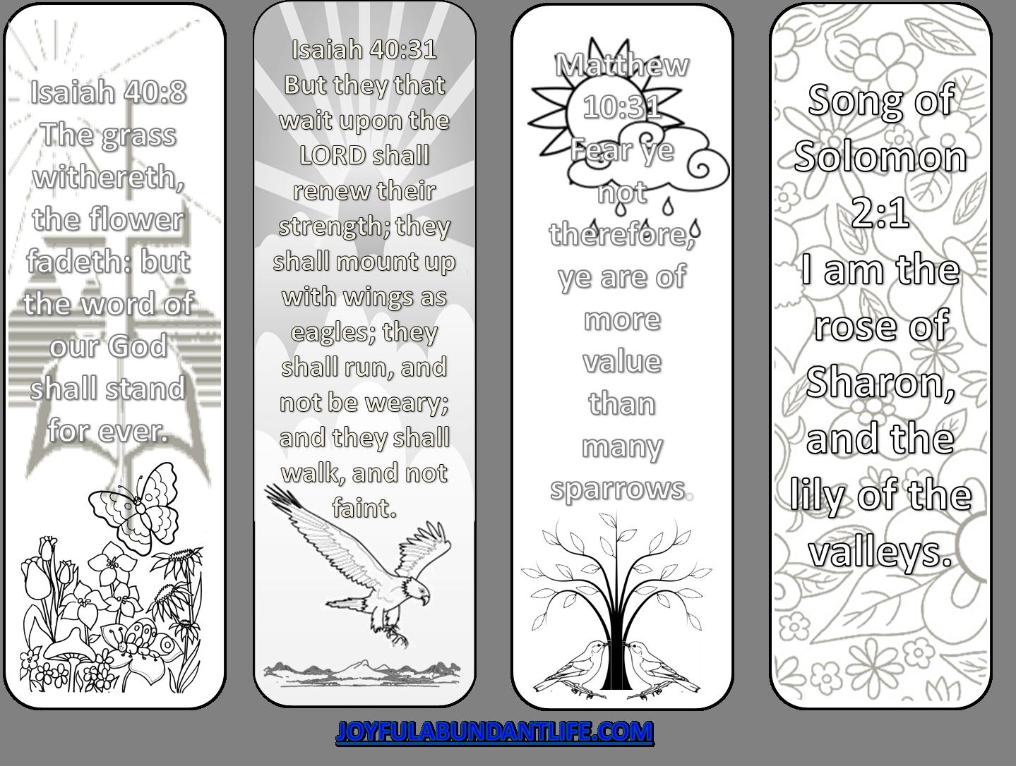 a friday freebie - coloring bible verse bookmarks - joyful abundant life