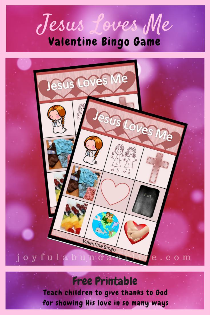 FREE PRINTABLE VALENTINE\'S DAY JESUS LOVES ME BINGO GAME - JOYFUL ...